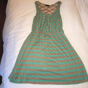 Teal and Tan Striped Cotton Blend Dress Size M